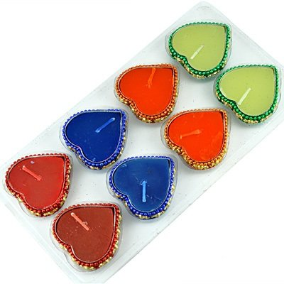 Glorious Multicolor Heart Shape Candle with Holder on Diwali