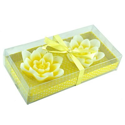 Yellow Lotus Set of 2 with Gift Pack Candles