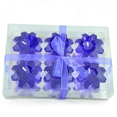 Blue Floral Candles of 6 Candle Set for Diwali