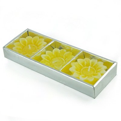 Yellow Floral Candles Set of 3 Candles for Diwali Gifts