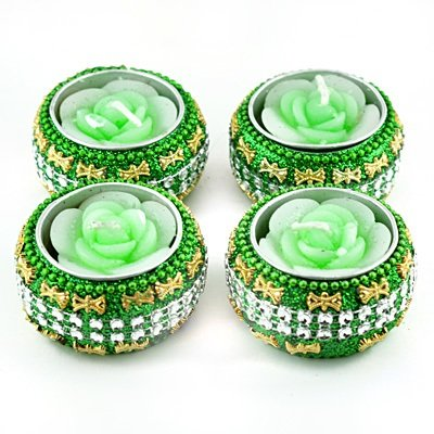 Light Green Rose Floral Candle in Designer Box Set of 4