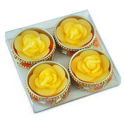Yellow Roses Designer Floral Candles Set of 4