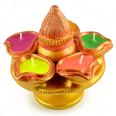Designer Kalash Candle with 5 Candles Sorrounded