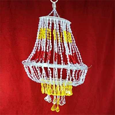 Beautiful Red Yellow White Beads Chandelier on Diwali