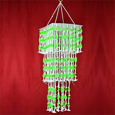 Long White Green Jhoomer Decorative Chandelier