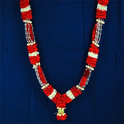 Redish with Silver Beads Garlands Decor on Diwali