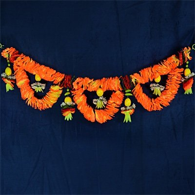 Elegent Orange Floral Leman and Green Chilly Door Hanging