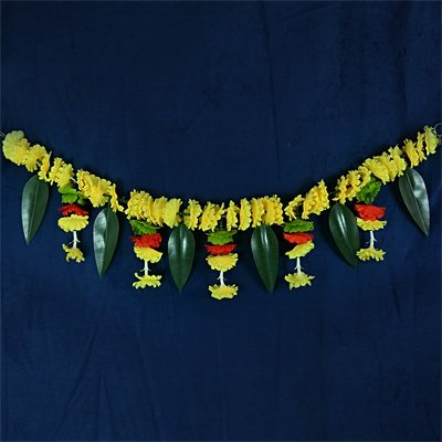 Auspicious Yellow Floral with Leaf Traditional Door Hanging