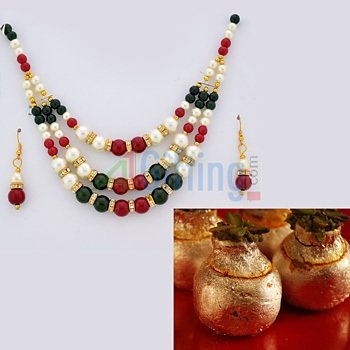 Kaju Kalash Sweets with Multicolor Beads Necklace Set