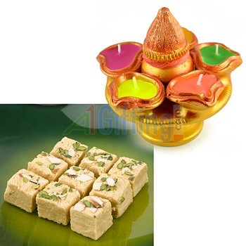Soft Sweets Soan Papdi and Kalash with 5 Candles Sorrounded