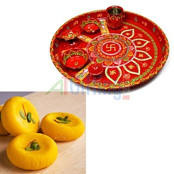 Handicraft Pooja Thali Painted with Special Kesar Mawa Peda