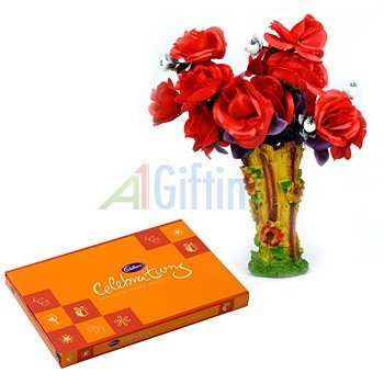 Cadbury Celebration Small with Red Rose Flowers Bouquet