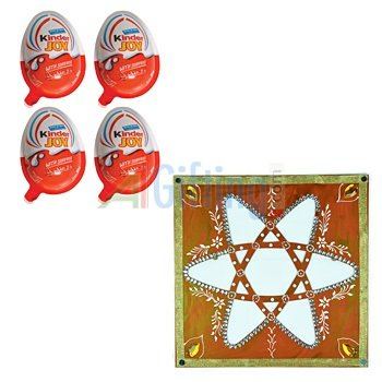Kinder Joy Chocolate Pack of 4 with Star Stencil for Rangoli to Design