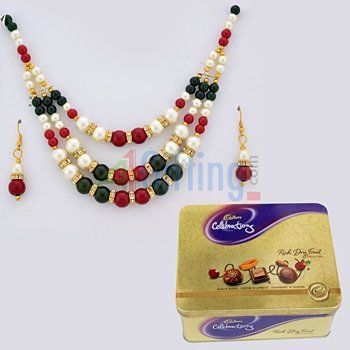 Rich Dryfruit Chocolates-Tin with Multicolor Beads and Pearl Necklace Set