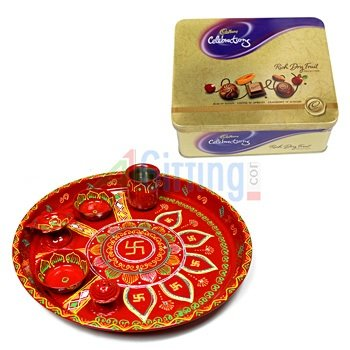 Rich Dryfruit Chocolates-Tin with Handicraft Pooja Thali Painted