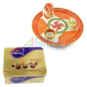Rich Dryfruit Chocolates-Tin with Handicraft Marble Pooja Thali