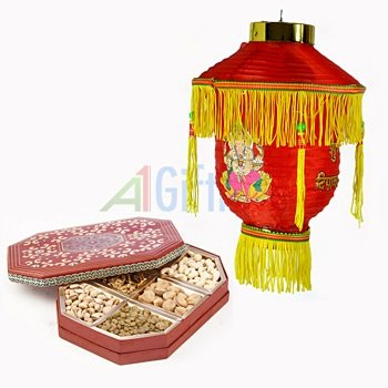 Dry fruit Box of 6 Type Dry fruits with Roof Lighting Lamp for Diwali