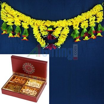 Dry fruit Box of 4 Type Dry fruits with Designer Door Hanging for Diwali