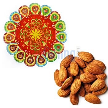 Quality Almonds or Badam with Cutting Edge Peacock Feather Rangoli
