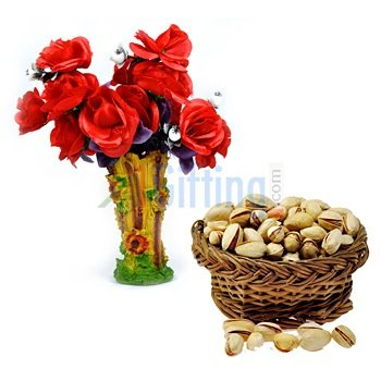 Pistachios or Pista with Red Rose Flowers Bouquet