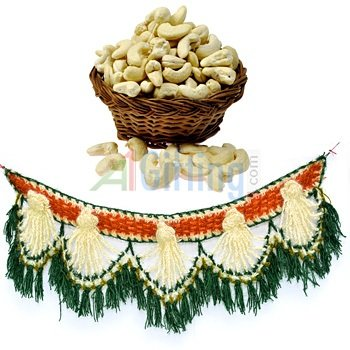 Fresh Cashew or Kaju on Diwali with Designed Door Hanging on Diwali