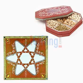 Dry fruit Box of 6 Type Dry fruits with Star Stencil for Rangoli