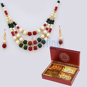Dry fruit Box of 4 Type Dry fruits with Multicolor Beads and Pearl Necklace Set