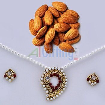 Quality Almonds or Badam with Pearl Locket Set with Earings