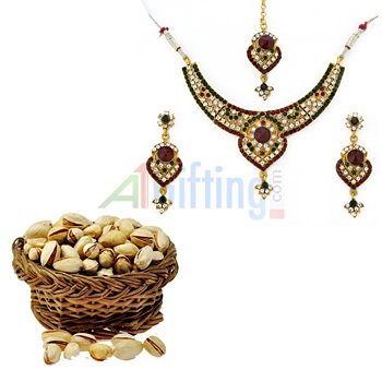 Pistachios or Pista online with Golden Metalic White Maroon Diamond Jewelry Set