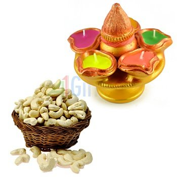 Fresh Cashew or Kaju on Diwali with Designer Kalash Candle with 5 Candles Sorrounded