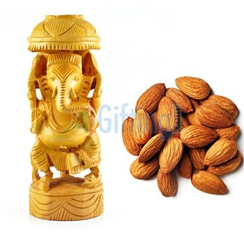 Quality Almonds or Badam with Designer Ganesha Statue in wooden handicraft