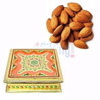 Quality Almonds or Badam with Marvellous Golden Square Dry Fruit Box