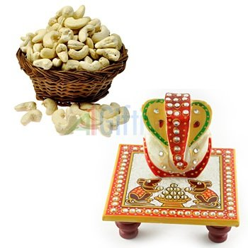 Fresh Cashew or Kaju on Diwali with Beautiful Marble Handicraft Ganesha on Chouki