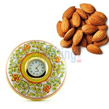Quality Almonds or Badam with Marble Handicraft Desktop Watch
