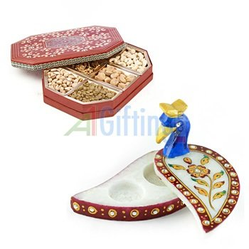 Dry fruit Box of 6 Type Dry fruits with Handicraft Marble Peacock Chopra-Roli Chawal Holder