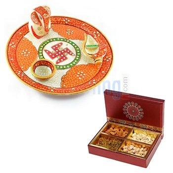 Dry fruit Box of 4 Type Dry fruits with Amazing Handicraft Marble Pooja Thali with Ganesha