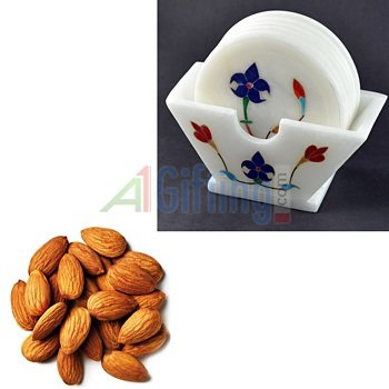 Quality Almonds or Badam with White Stone Coaster Standing with Flower Design