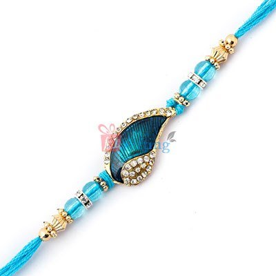 Western look of peacock feather studded with golden beads and diamonds