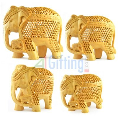 Latticed-Jalidar Handicraft Wooden Elephant Set of 4