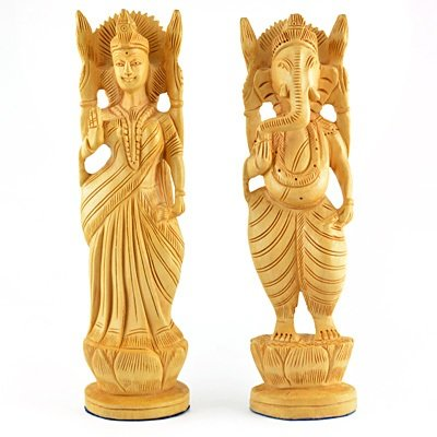 Laxmi Ganesh Murti in wooden handicraft