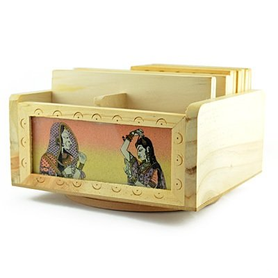 Wooden Revolving Paper Holder cum Tea Coaster Handicraft