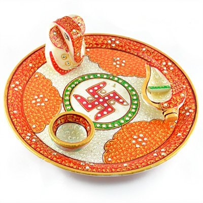 Amazing Handicraft Marble Pooja Thali with Ganesha