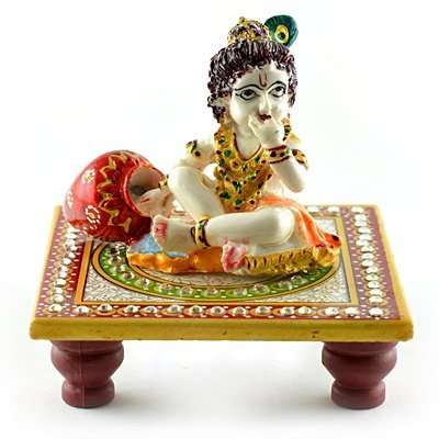 Marble Handicraft-Laddu Gopal Sitting on Chouki