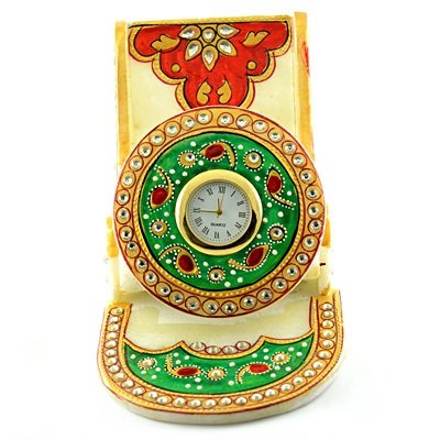 Handicraft Marble Mobile Holder or Stand with Watch