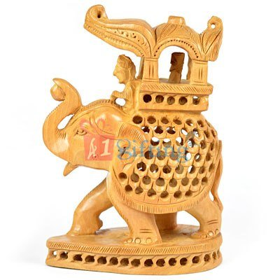 Wooden Handicraft Elephant Palki Latticed-Jalidar