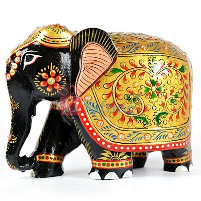 Wooden Painted Designer Elephant