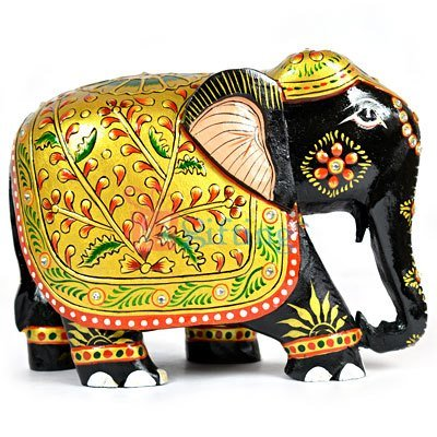 Artistic Worked Handicraft Painted Elephant Wooden