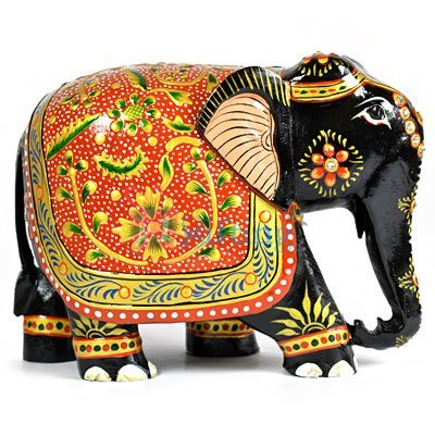 Red Painted Back Designer Handicraft Wooden Elephant