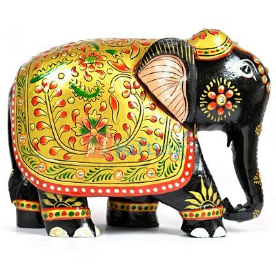 Beautiful Wooden Back Painted Designer Elephant