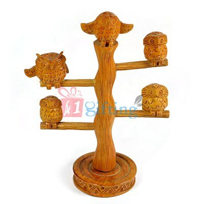 Wooden Owl Tree Handicraft Gift